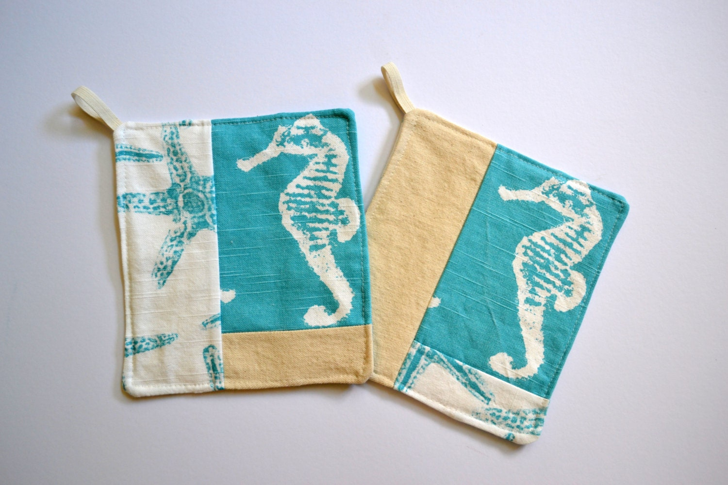 Fun kitchen pot holder set quilted in aqua by littlehenstudio for Quilted kitchen set