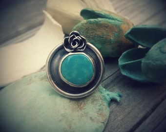 Turquoise Statement Ring. Sterling Silver Turquoise Ring. Blue Stone Ring. Silver Rose Ring. Large Turquoise Ring. Natural Turquoise Ring