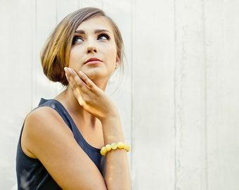 White Amber Bead Bracelet, Ocean Beach Inspired, Baltic Amber Bracelet, Amber Jewelry