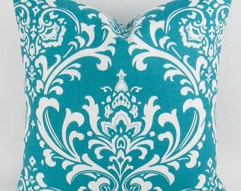 Turquoise Pillow Cover, Throw Pillow, Accent Pillow, Euro Pillow, Euro Sham, Damask Print, Teal/Aqua -MANY SIZES- Ozborne, Premier Prints
