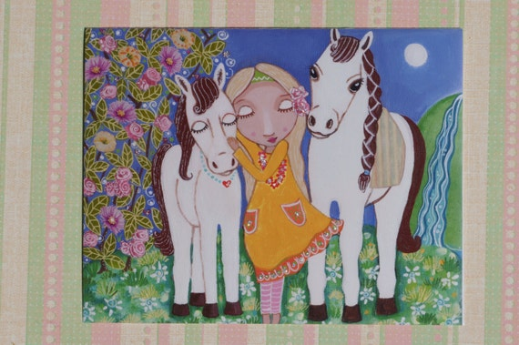 Girl with Horses- Charming Original Mixed Media painting On Wood Panel 8X10 inch (20.5X 25.5 cm) by Evona