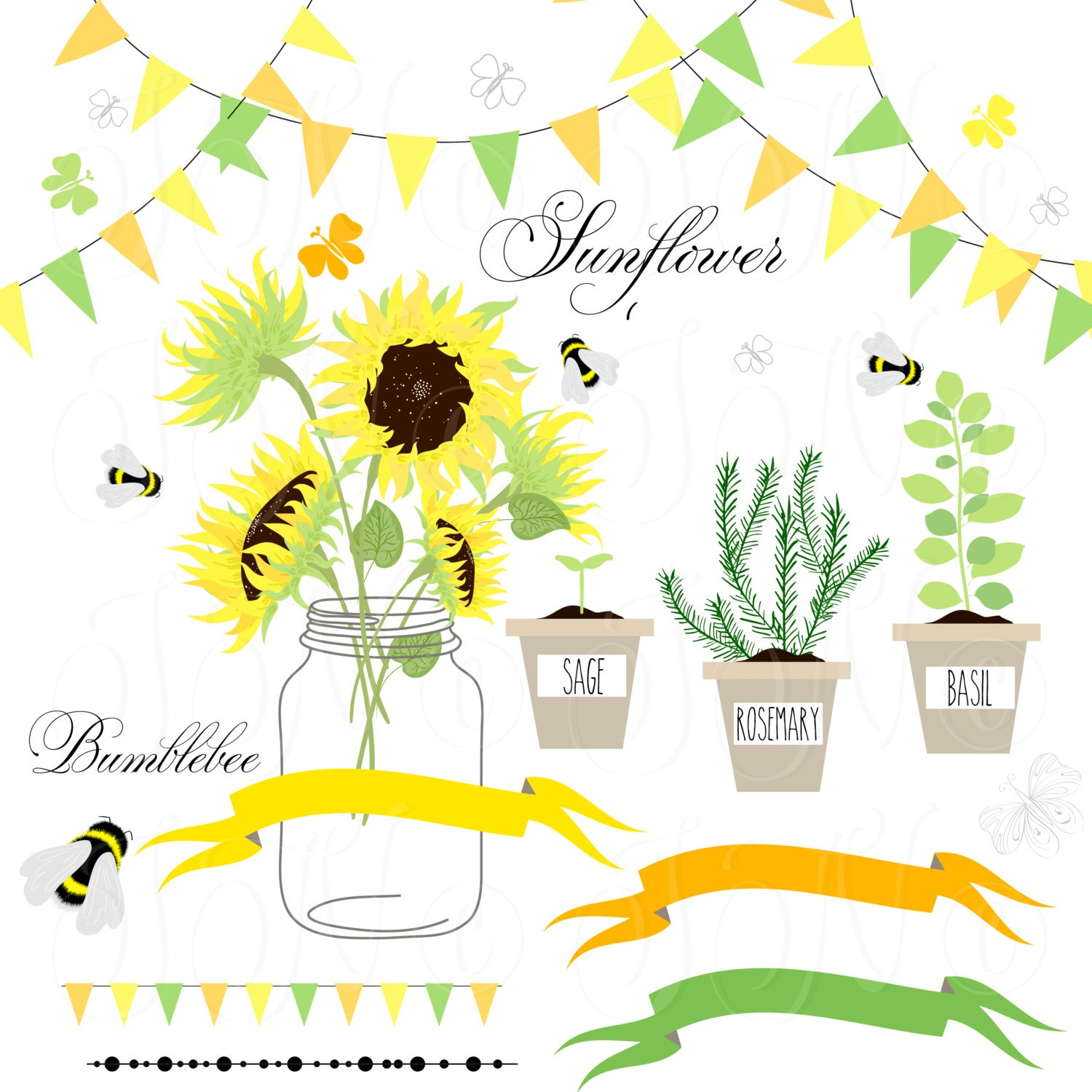 Sunflowers, Mason Jars,digital papers - Clip art for ...