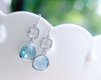 Aquamarine Earrings - March Birthstone Earrings in Silver on 925 Silver Earwire, Light Blue Bridesmaid Earrings, Sky Blue