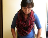Fall colored Infinity Scarf / Red Toned Winter Chain Scarf / Knitted Wrap Scarf