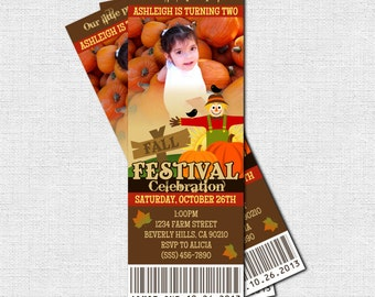 FALL FESTIVAL TICKET Invitations Little Pumpkin Birthday Party - (print your own) Personalized Printable