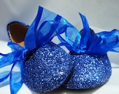 FLOWER GIRL SHOES~Glitter Ballet Flats~Any Shade of Blue~Custom Colors~ Bridal Shoes~Ballet Flats~Fast Service