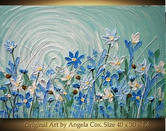 Original  Handpainted   Modern Acrylic Heavy  Impasto Palette Knife Blue   Wild  Flowers Painting. Size 40 x 30. Made2Order.