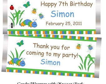 Back Yard Bugs - Personalized Candy Bar Wrapper, birthday, baby shower