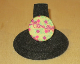 Vintage Style Floral Pink and Green Fabric Covered Button Antique Brass Adjustable Ring