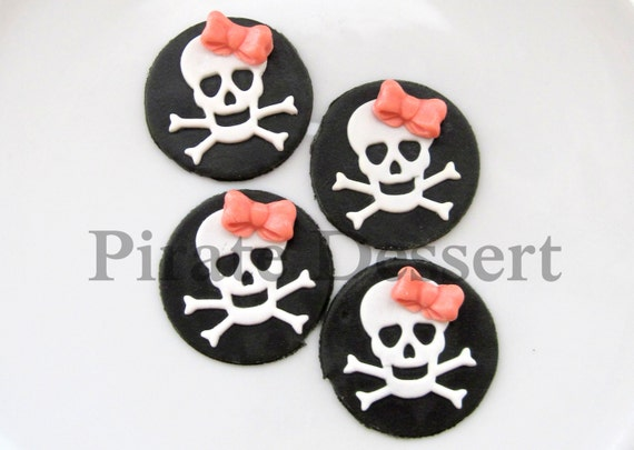 Edible cupcake toppers PIRATE GIRL - Skull Sugar Coin -  Fondant Skull and Cross Bone cake decorations - Pirate Cupcake- Pink Bow-(6 pieces)