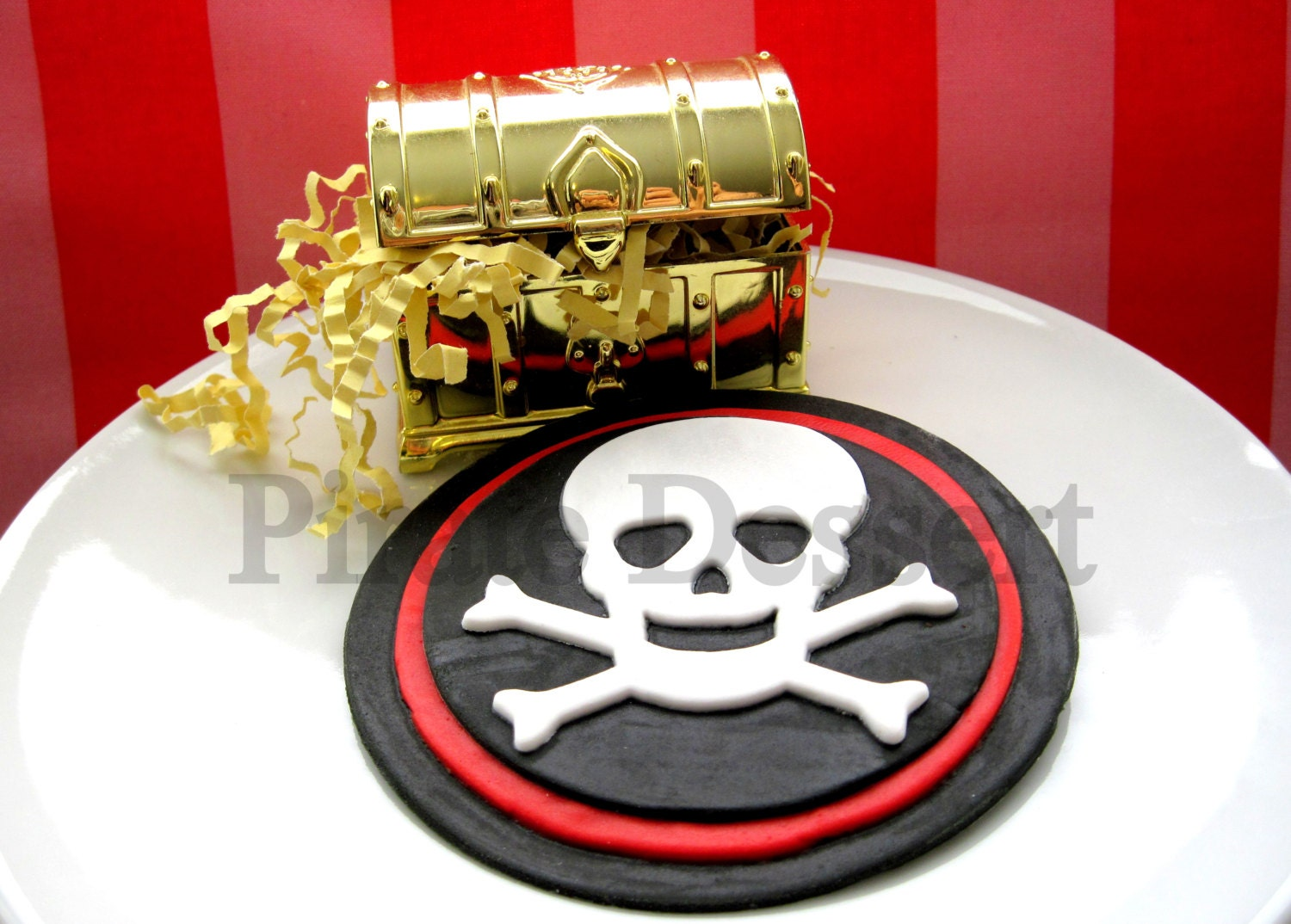 Edible Cake Images Pirate : Edible Cake Topper PIRATE SKULL and Cross Bones Jolly Roger