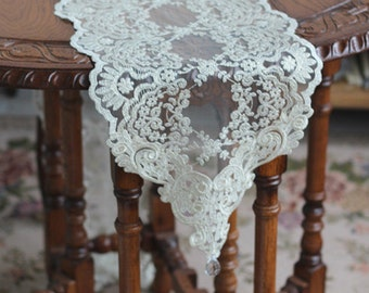 Handmade Wedding VTG Handmade Rose Table Doily Runner,Embroidery&Lace 28x180cm