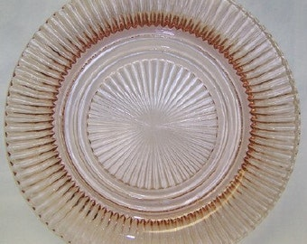 Hocking Depression Glass Pink QUEEN MARY 9 7/8 Inch Dinner Plate