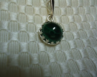 Malachite Cabochon Necklace in Sterling Silver   #833