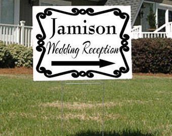 Wedding or Wedding Reception Sign with Arrow and Swirly Frame