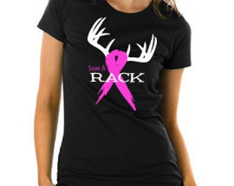 Save A Rack Breast Cancer Awareness T-Shirt - Hunters Supporting Breast Cancer Awareness Month for Ladies or Men, Pink Ribbon & Antlers