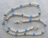 Eyeglass Chain - Blue Sapphire Glass Beads - Crystals - Pearls