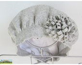 Girls Gray hat - Gray wool blend - wool flower - Other color available
