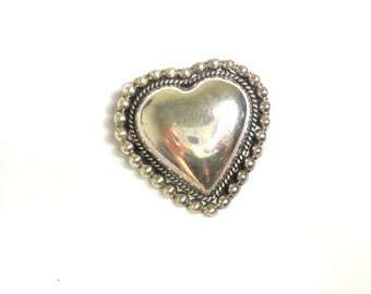 Vintage Heart Brooch - Solid Sterling Silver Pin - Weight 20.6 Grams - Heart Pin - Love Brooch - Valentines # 2014