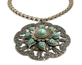 "Vintage Silver Tone Floral Necklace - Silver Tone 18"" Chain -  Costume Jewelry - Blue Beads - Mock Turquoise - REDUCED"