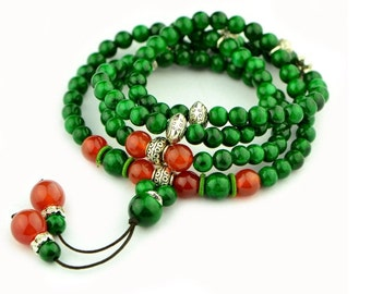 Multilayer 108 green agate malachite beads bracelet accessories