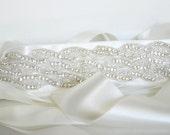 Crystal Rhinestone Beaded Wedding Bridal Sash Belt - Off White Satin Ribbon