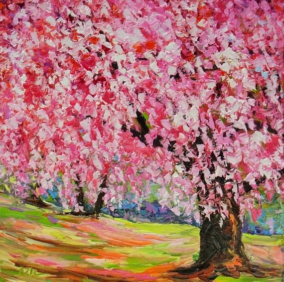 Arbre fleur de cerisier sakura bois de rose paysage peinture for Peinture bois de rose