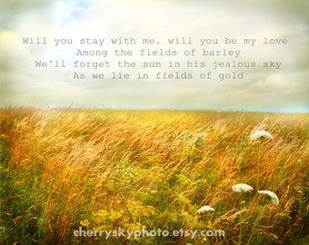 Fields of Gold - Vintage Style Farm Sunbeams Love Romantic Sting Lyrics Personalize Your Quote Type Rustic Country Wall Art Photograph