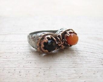 Jasper and Onyx Ring Brass Bezel Ring Stone jewelry