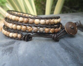 Jasper Leather Wrap Bracelet