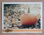 Handmade Photograph Greeting Card with Ribbon-Autumn-thanksgiving