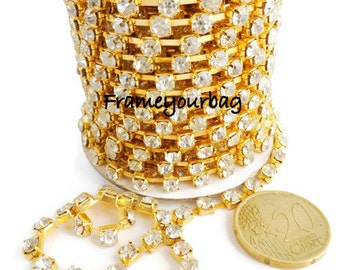 1m (39,37 in) Golden colour strass 3x3mm  cristal stonechain for making bracelets