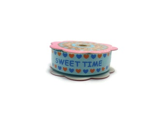 2m /2,19 yd  - Sweet Time  grosgrain Ribbon wide 5/8 inches 15mm