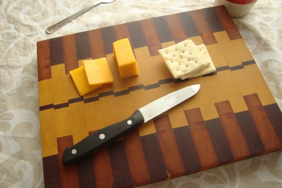 End grain butcher block, three different South American woods