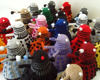 Hand Knitted Dalek in a variety of colourways