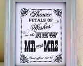 8 x 10  Wedding Print / Sign - Flower Petal  Send Off (with the send off time)   Single Sheet (Style: PETAL)
