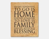 Having somewhere to go is home - Family - Blessing - Typography wall art - 8 x 10 or larger print - vintage, distressed blue, chalkboard - SusanNewberryDesigns