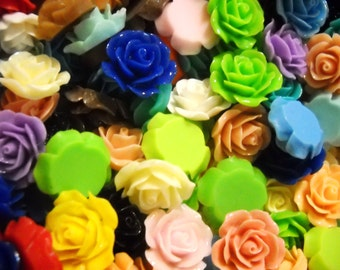 Flower Cabochons Resin Cabochons Flowers Bulk Cabochons Flowers for Rings Wholesale 18mm- 20mm -100pcs