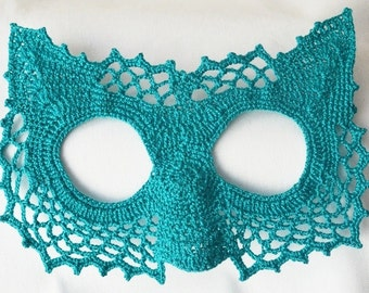 Pussycat  Masquerade Mask , Elegant mask . Party accessory, Handmade  Crochet mask,christmas party, halloween party ,party costume