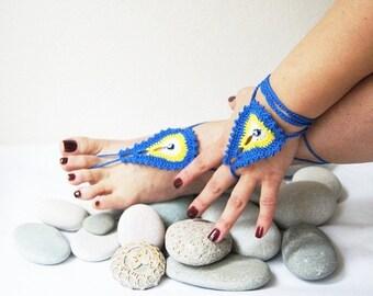 Wedding Favor Baby Shower,Wedding Present,Evil Eye Barefoot Sandals and bracelet,