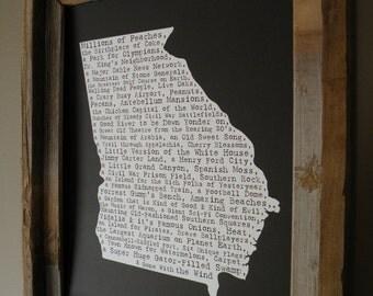 Georgia In A Nutshell Word Art Map Print (Black)