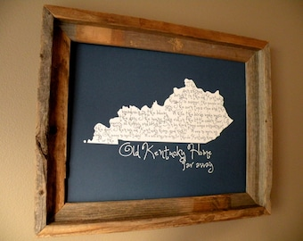 My Old Kentucky Home 11x14 Blue Map Print - Unframed