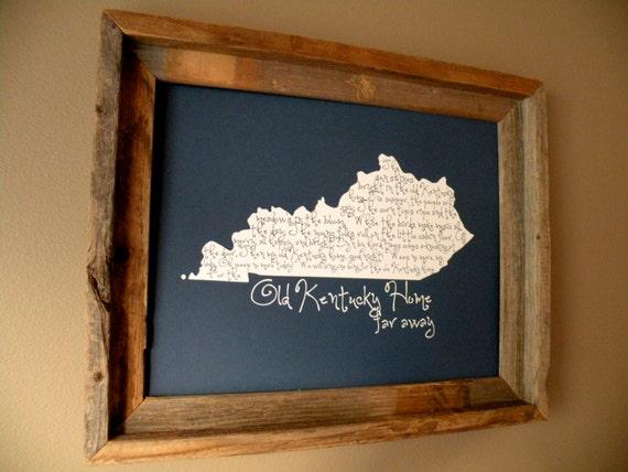 My Old Kentucky Home 11x14 Blue Map Print - Unframed