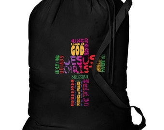 Many Names of Jesus Cross New Cotton Laundry Bag, Camping, Duffle, Travel, Tote