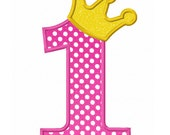 Instant Download Number 1 with Crown Applique Machine Embroidery Design NO:1410 - JoyousEmbroidery