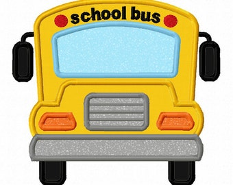 Instant Download Back to school Bus Applique Machine Embroidery Design NO:1358