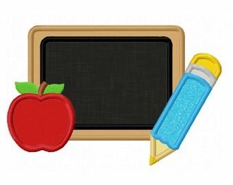 Instant Download Back to school Chalk Board Applique Machine Embroidery Design NO:1357
