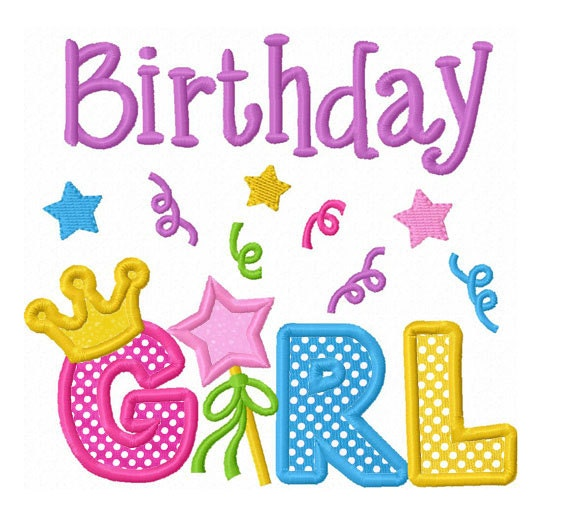 Instant Download Birthday Girl With Crown Applique Machine