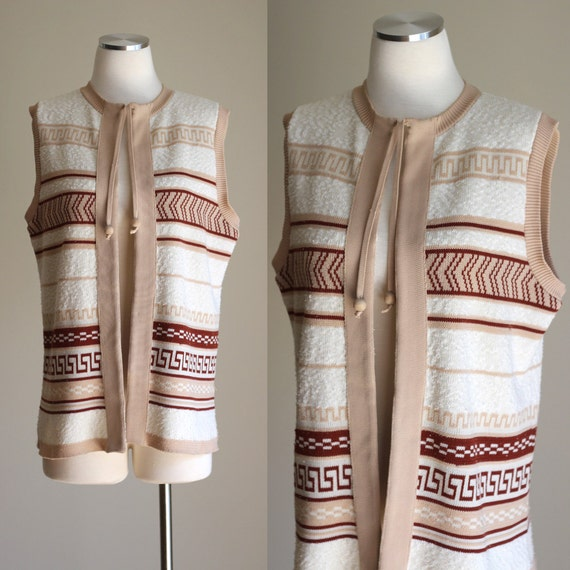 SALE: Vintage 70s Tribal Print Long Boho Vest - Tan, Cream, and Rust Brown Southwestern Aztec Print Knit Vest with Wooden Beads - Size Large
