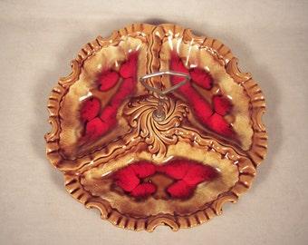Dessert Tray Plate Dish Ceramic Cherry Pie Red Brown
